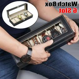 6Slot Portable Watch Box Leather Jewelry Bracelet Storage Di