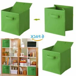 6X Storage Box Cube Unit Organizer Fabric Bin Shelf Basket D