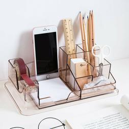 7 Compartment Pen Pencil Holder Box Office Supplies Desktop