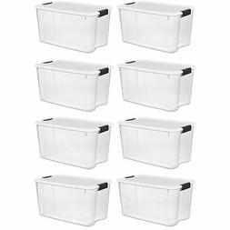 Sterilite 70 Quart Ultra Latch Storage Box with White Lid &