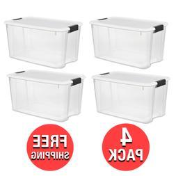 4 Pack) Sterilite 70 Quart Ultra Latch Storage Box, White Li