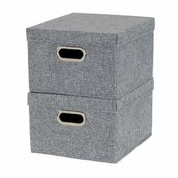 Household Essentials 710-1 Fabric Box Bin Set with Lids and
