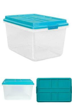 Hefty 72-Qt Hi-Rise Clear Latch Box, Teal Sachet Lid and Han