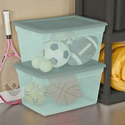 8 PACK Storage Box Sterilite Plastic 58 Qt Container Aqua Ti