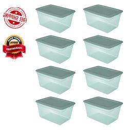 8 Pack Storage Tote Bin Box Aqua Slate Plastic Stackable Con