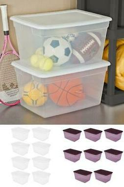 8 Pack Storage Tote Bin Box Clear Plastic Stackable Containe