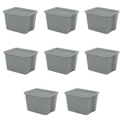 8 pk Plastic Storage Container Box Set Bin 18-Gallon Stackab
