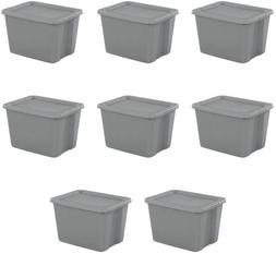 8 PLASTIC STORAGE CONTAINERS Tote Box With Lid Stackable Bin