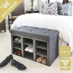 Seville Classics 9-Bin Foldable Tufted Shoe Storage Ottoman