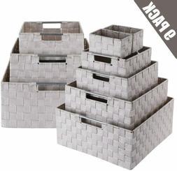 9 Piece Stackable Storage Box Woven Basket Bin Container Tot