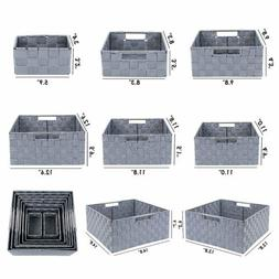 9pcs Stackable Storage Box Woven Basket Bin Container Home T