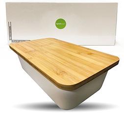 Clean Dezign Bamboo Fiber Bread Box Bin with Cutting Board L