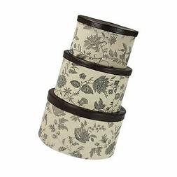 Household Essentials 3-Piece Hat Box Set with Faux Leather L