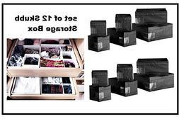 Ikea Drawer Boxes Organizers Storage Bins, Black, Set of 12,
