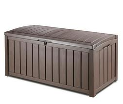 Keter, Glenwood 101 Gal. Deck Box garden furniture cushions,