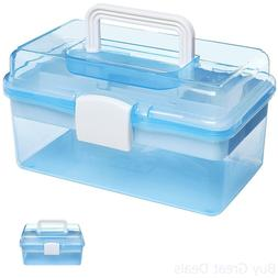 "MyGift 10"" Clear Light Blue Plastic Multipurpose Portable Ha"