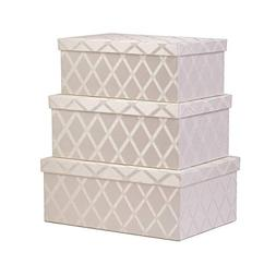 Storage Bins with Lid 3-pcs Set - Fabric Decorative Storage