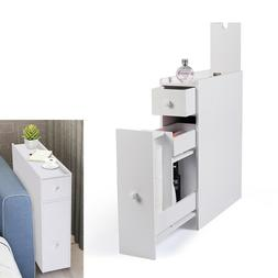 Wood White Bathroom Floor Cabinet Storage with 2 Drawers Toi