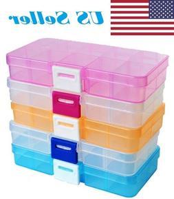 Adjustable 10 Compartment Plastic Storage Box Case Jewelry B