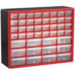 Akro-Mils 10144REDBLK 44-Drawer Hardware & Craft Plastic Cab