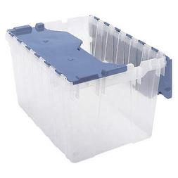 AKRO-MILS 66486FILEB Attached Lid Container,Clear/Blue