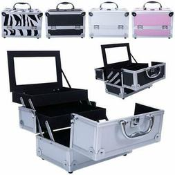Aluminum Makeup Train Jewelry Storage Box Cosmetic Lockable