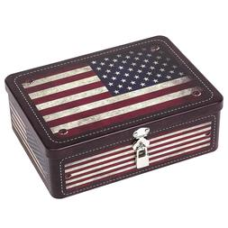 American Flag Tin Storage Box with Padlock, Decorative Metal