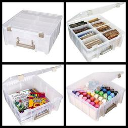 Art and Craft Storage Container Box Removable Dividers Clear