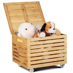 Bamboo Rolling Storage Box File Organizer Cabinet Natural