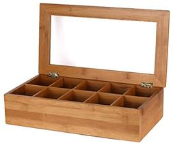 Bamboo Tea Storage Box 10 Equally Divided Compartments Displ