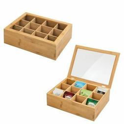 mDesign Bamboo Tea Storage Organizer Box - 12 Divided Sectio