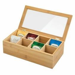 mDesign Bamboo Tea Storage Organizer Box, Lid, 8 Divided Sec