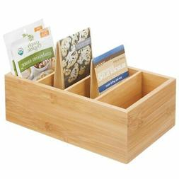 mDesign Bamboo Wood Food Storage Organizer Bin Box - 4 Divid