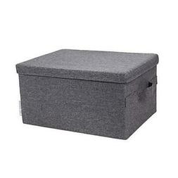 Bigso Soft Foldable Polyester Storage Box with Lid, 9.8 x 13