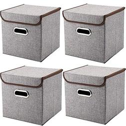 MEÉLIFE Storage Bins 4-Pack Storage Boxes Linen Basket Fabr