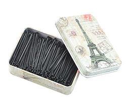 200pcs Black Bobby Pins Metal Hair Pins with Lovely Tin Box