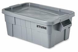 BRUTE Tote Storage Bin with Lid, 14-Gallon, Gray