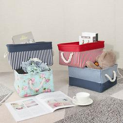 Canvas Fabric Storage Baskets Bins Collapsible Toy Boxes Org