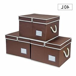StorageWorks Canvas Storage Box with Lid and Strong Cotton R