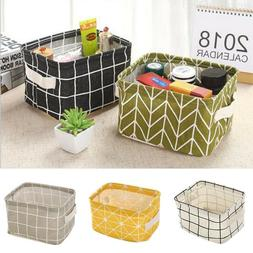 Canvas Storage Folding Boxes Desktop Cosmetic Makeup Organiz