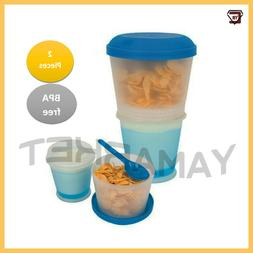 Cereal To Go Plastic Cup with Lid Spoon Storage Food Contain