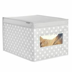 mDesign Child/Kids Fabric Closet Storage Box, Large, Polka D