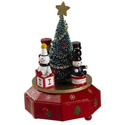 Midwest-CBK Christmas Tree Rotating 5 x 7 Inch Wood Music Bo