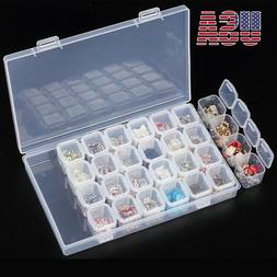 Clear 28Slots Nail Art Holder Storage Organizer Box Jewelry