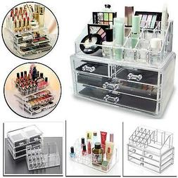 Clear Jewelry Cosmetic Organizer 4 Drawer Drawer Makeup Case