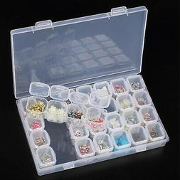 Clear Plastic 28 Slots Adjustable Jewelry Storage Box Case C