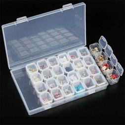 Clear Plastic 28 Slots Adjustable Jewelry Storage Box Case C