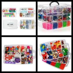 Clear Stackable Storage Box with Compartments Arts Crafts Or