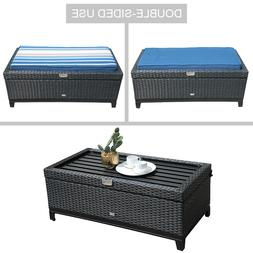 Clearance Resin Wicker Storage Bench Box with Seat Cushion,