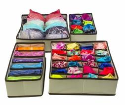 Set of 4 Storage Organizer Underwear Box Bra Socks Closet Di